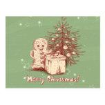 Decoración del navidad del vintage en fondo verde tarjetas postales