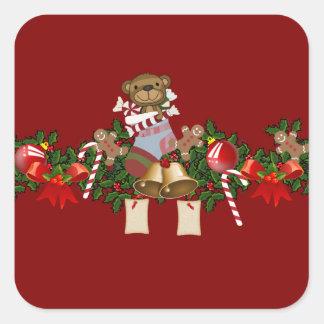 Decoración del navidad pegatina cuadrada