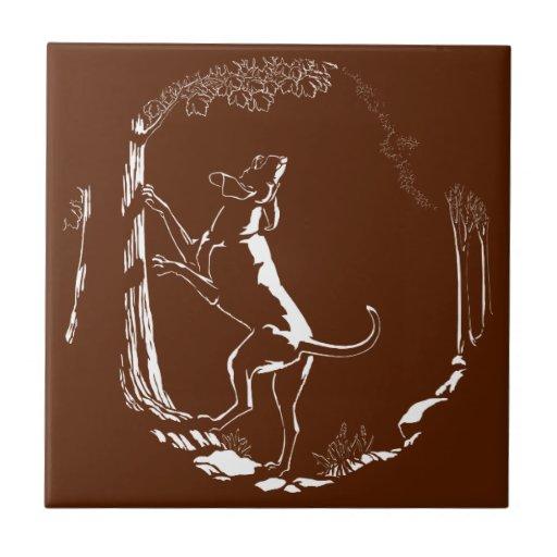 Decoración del perro de caza de la baldosa cerámic azulejo cuadrado pequeño