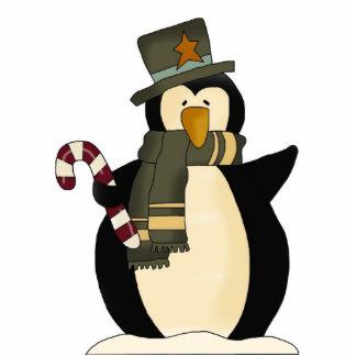 Decoración del pingüino del navidad fotoescultura vertical