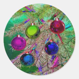 Decoración del pino del día de fiesta pegatina redonda