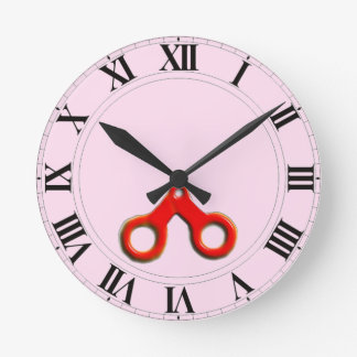decoración del salón de pelo reloj redondo mediano