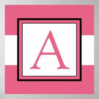 Decoración del sitio del monograma del chica rosad póster
