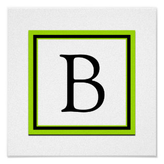 Decoración del sitio del monograma del chica verde póster