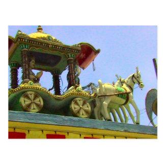 Decoración del templo hindú, del caballo y del car tarjeta postal