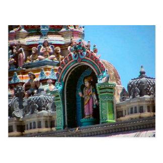 Decoración del templo hindú, detalle del tejado tarjetas postales