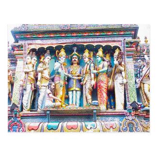 Decoración del templo hindú, vida hindú postales