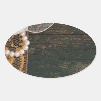 decoración del vintage pegatina ovalada