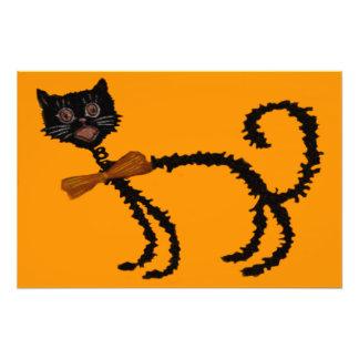 Decoración elástica de Halloween del gato negro Fotografía