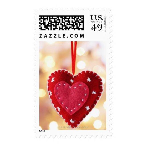 Decoración en forma de corazón del fieltro, cierre sello