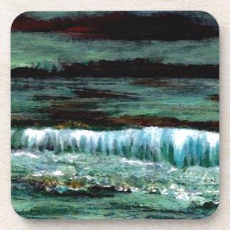 Decoración esmeralda de la playa del paisaje marin posavasos