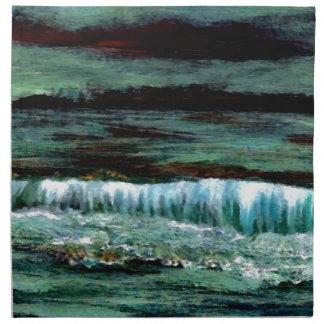 Decoración esmeralda de la playa del paisaje marin servilletas imprimidas