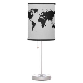 decoración estilizada negra del mapa del mundo lámpara de mesa