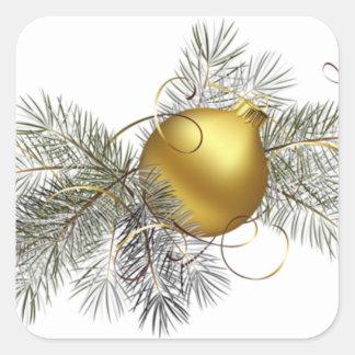 Decoración festiva del oro pegatina cuadrada
