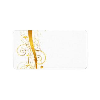 Decoración floral de oro del navidad etiqueta de dirección