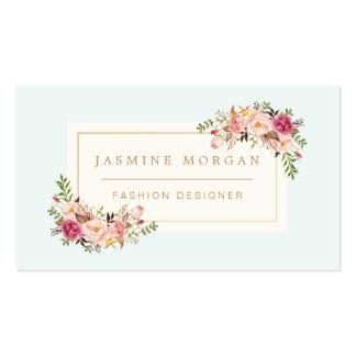 Decoración floral del boutique de la acuarela en tarjetas de visita