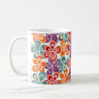 Decoración floral del esmalte colorido taza