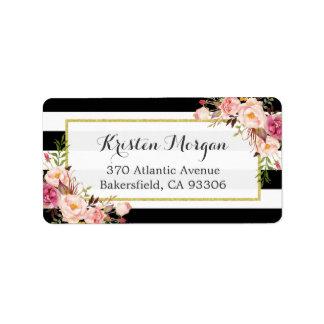 Decoración floral del rosa blanco negro clásico de etiqueta de dirección