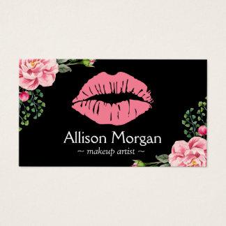 Decoración floral del vintage de los labios del tarjeta de negocios