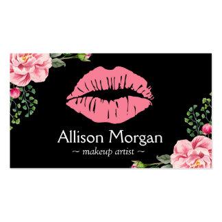 Decoración floral del vintage de los labios del tarjetas de visita