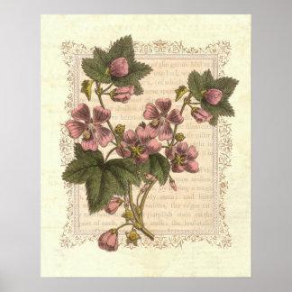 Decoración floral del vintage lamentable de la ele póster