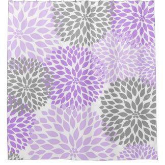 Decoración floral gris de los flores de las flores cortina de baño