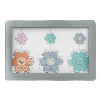 Decoración floral hebillas de cinturon rectangulares