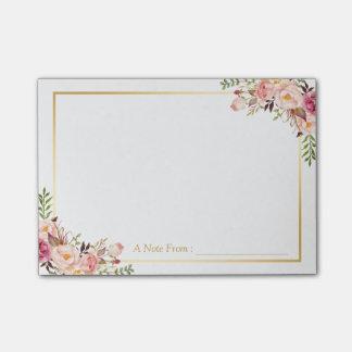 Decoración floral rosada elegante elegante con el notas post-it®