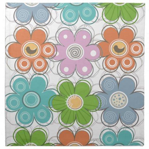Decoración floral servilletas imprimidas
