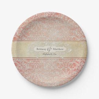 Decoración francesa del boda del cordón de la platos de papel