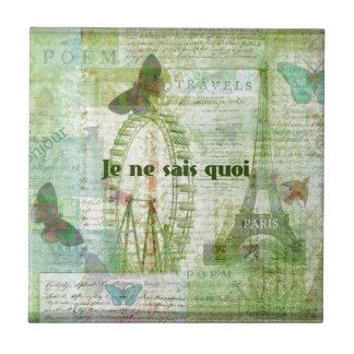 Decoración francesa del tema de París de la frase  Azulejo Cuadrado Pequeño