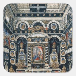 Decoración funeraria a la memoria de Enrique II Pegatina Cuadrada