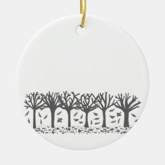 Decoración hivernal del ornamento de la silueta adorno navideño redondo de cerámica