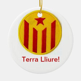 Decoracion independentista catalana adorno navideño redondo de cerámica