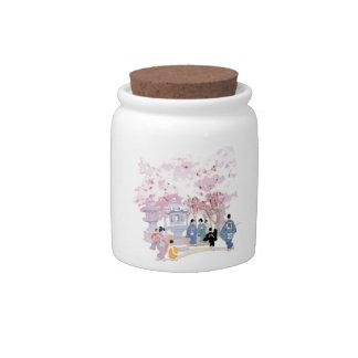 Decoración japonesa magnífica del hogar de la flor jarras para caramelos