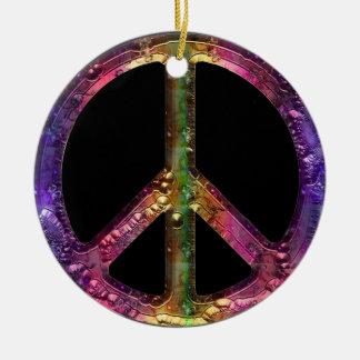 Decoración metálica retra del navidad del signo de adorno redondo de cerámica