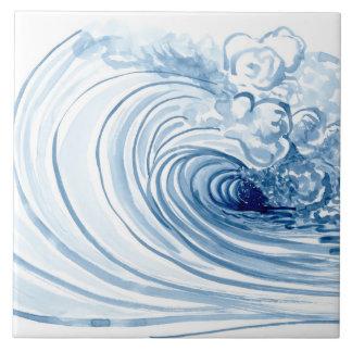 Decoración moderna contemporánea de la onda azul azulejo cuadrado grande