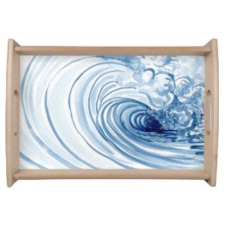 Decoración moderna contemporánea de la onda azul bandejas