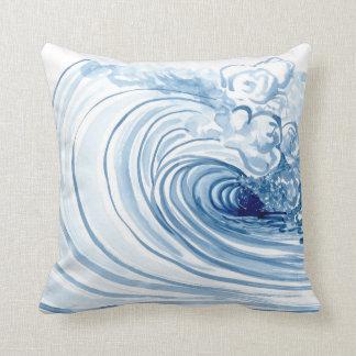 Decoración moderna contemporánea de la onda azul cojines
