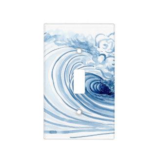 Decoración moderna contemporánea de la onda azul cubiertas para interruptor