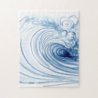 Decoración moderna contemporánea de la onda azul rompecabezas con fotos