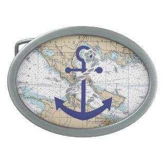 Decoración náutica del mapa hebilla de cinturón oval
