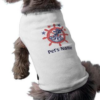 Decoración náutica del nombre de mascota playera sin mangas para perro