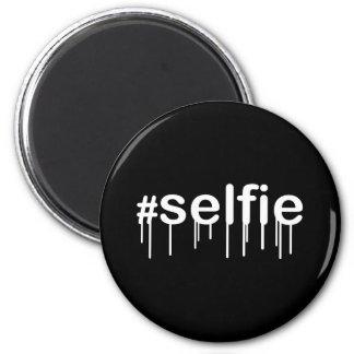 Decoración negra Drooling de Hashtag Selfie Imán Redondo 5 Cm