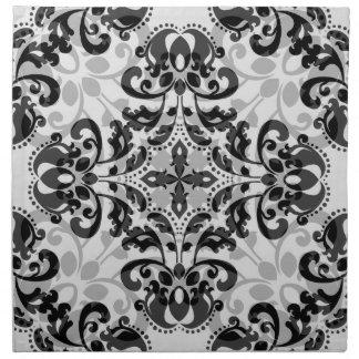 Decoración negra y gris del damasco del victorian servilletas imprimidas