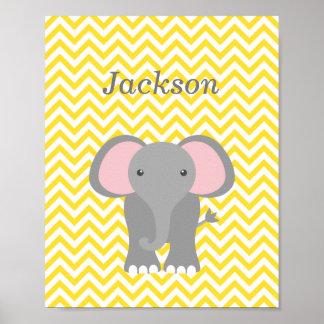 Decoración personalizada elefante amarillo del cua poster