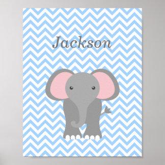 Decoración personalizada elefante azul del cuarto  póster