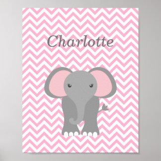 Decoración personalizada elefante rosado del cuart póster