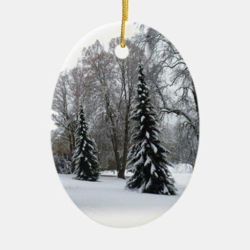Decoración personalizada ornamento del invierno de adorno ovalado de cerámica