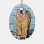 Decoración personalizada ornamento del oso del oso adorno navideño ovalado de cerámica